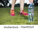 fitness woman running  training ... | Shutterstock . vector #756495337