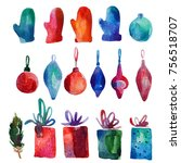 watercolor christmas set with... | Shutterstock . vector #756518707