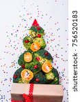 christmas tree made of broccoli ... | Shutterstock . vector #756520183