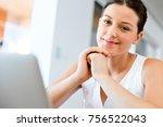 young beautiful woman working... | Shutterstock . vector #756522043