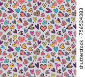 cute seamless pattern with hand ... | Shutterstock .eps vector #756524383