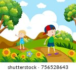 boy and girl hiking on the hill ... | Shutterstock .eps vector #756528643