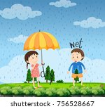 opposite words for wet and dry... | Shutterstock .eps vector #756528667