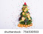 christmas tree made of broccoli ... | Shutterstock . vector #756530503