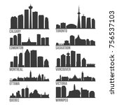 most famous canada cities...   Shutterstock .eps vector #756537103