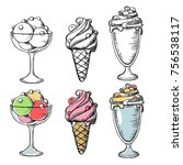 black and coloring ice cream... | Shutterstock .eps vector #756538117
