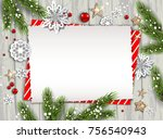 holiday christmas card with fir ... | Shutterstock .eps vector #756540943