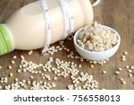soymilk and barley seed   Shutterstock . vector #756558013