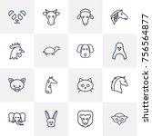 set of 16 zoology outline icons ...   Shutterstock .eps vector #756564877