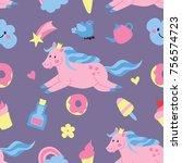 pony cute pattern | Shutterstock .eps vector #756574723