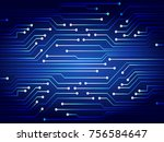 binary circuit board future... | Shutterstock .eps vector #756584647