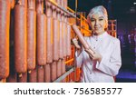sausage meat factory production ... | Shutterstock . vector #756585577