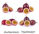 passion fruit isolated on white ... | Shutterstock . vector #756594307