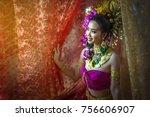 beautiful women wearing thai... | Shutterstock . vector #756606907