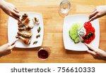 meat vegetables. vegan dinner... | Shutterstock . vector #756610333