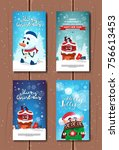 holly jolly greeting cards cute ... | Shutterstock .eps vector #756613453