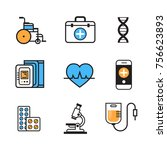 medical icon set thin line... | Shutterstock .eps vector #756623893