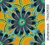 geometric zentangle mandala... | Shutterstock .eps vector #756629203