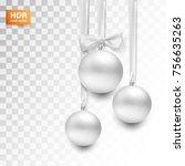 vector christmas ball on silk... | Shutterstock .eps vector #756635263