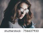 portrait of a cute girl... | Shutterstock . vector #756637933