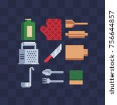 flat pixel art icons set.... | Shutterstock .eps vector #756644857