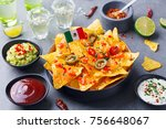 nachos chips with mexican flag...   Shutterstock . vector #756648067