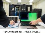 network switch setup  | Shutterstock . vector #756649363
