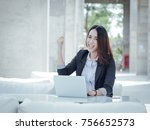 asian business woman with... | Shutterstock . vector #756652573
