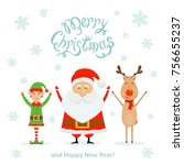 happy santa claus with little... | Shutterstock .eps vector #756655237