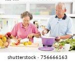 happy senior couple cooking in... | Shutterstock . vector #756666163