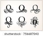 vintage set . capital letter o... | Shutterstock .eps vector #756687043
