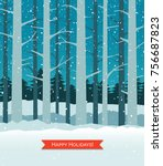 woods in winter with falling... | Shutterstock .eps vector #756687823