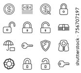 thin line icon set   dollar ... | Shutterstock .eps vector #756707197