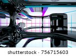abstract dynamic interior with... | Shutterstock . vector #756715603
