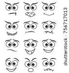 cartoon faces expression line... | Shutterstock .eps vector #756717013