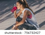 beautiful sporty woman resting... | Shutterstock . vector #756732427