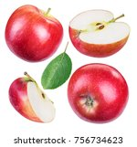 set of ripe red apples and... | Shutterstock . vector #756734623