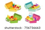lunch boxes set vector. various ... | Shutterstock .eps vector #756736663
