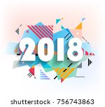 happy new year 2018 vector... | Shutterstock .eps vector #756743863