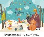 happy animals celebrating... | Shutterstock .eps vector #756744967