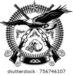 eagle and guns. revolver and... | Shutterstock . vector #756746107