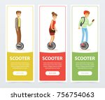 people riding on one wheel... | Shutterstock .eps vector #756754063