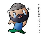 cartoon bearded man crying | Shutterstock .eps vector #756767113