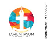 christian church vector logo... | Shutterstock .eps vector #756770017