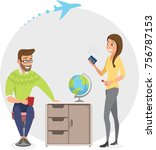 colleagues working in travel... | Shutterstock .eps vector #756787153