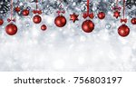 christmas balls hanging with... | Shutterstock . vector #756803197