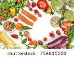 overhead photo of fresh food ...   Shutterstock . vector #756815203