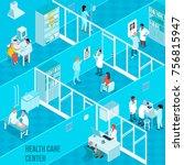 health care center isometric... | Shutterstock .eps vector #756815947