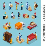 relocation service isometric... | Shutterstock .eps vector #756816013