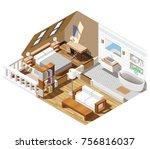 apartment interior isometric... | Shutterstock .eps vector #756816037